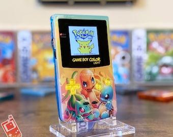 "Custom Backlit Nintendo Gameboy Color ""Artist Series"" - Kanto Edition by 8bitAesthetics & Jackie's Gaming Art"
