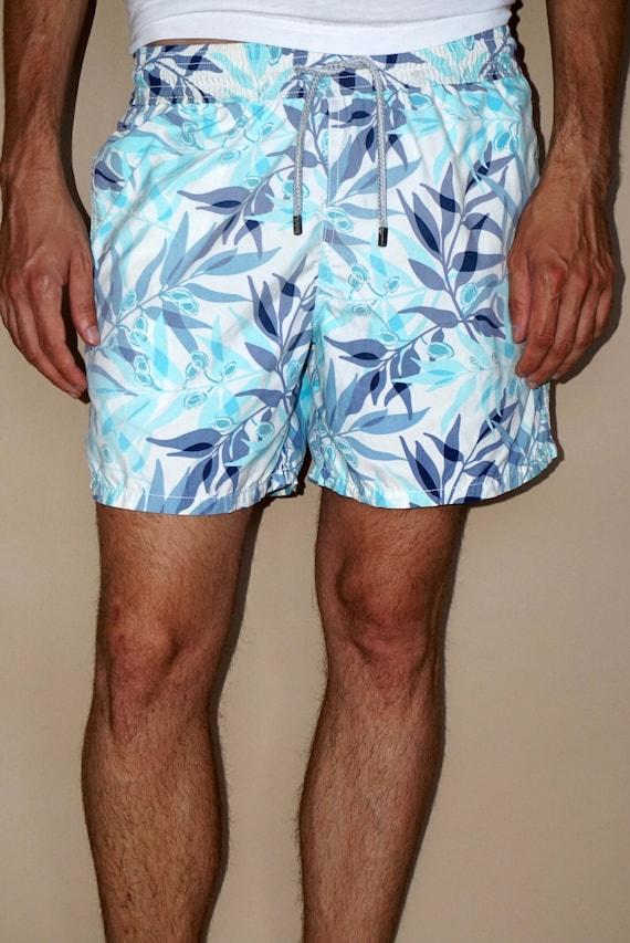90's vintage men's blue leaf printed shorts pants - image 6