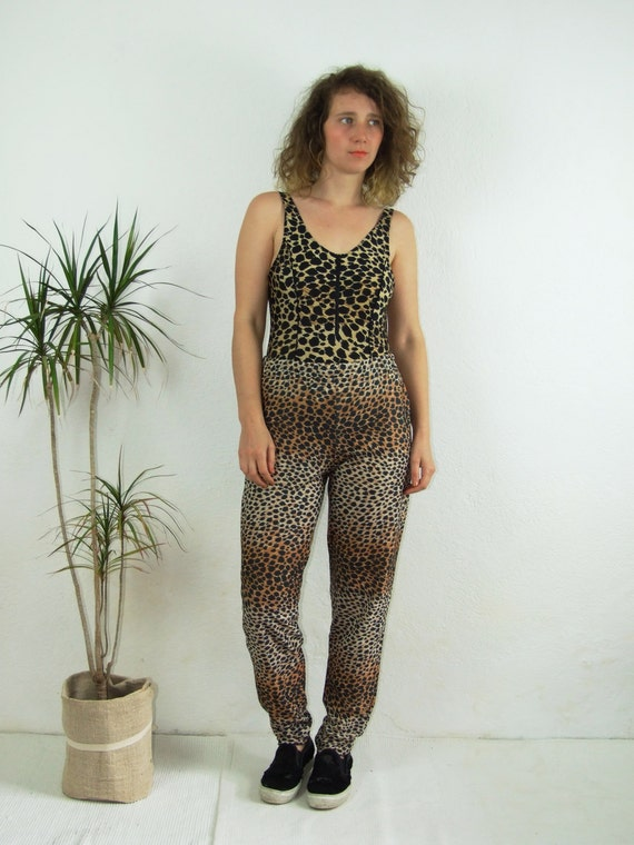 90's vintage women's leopard printed high waisted… - image 2