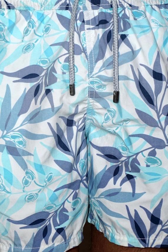 90's vintage men's blue leaf printed shorts pants - image 7