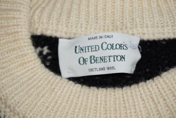 90 ' s vintage homme cher à of motifs de pull en laine shetland United Colors of à Benetton 93d50b