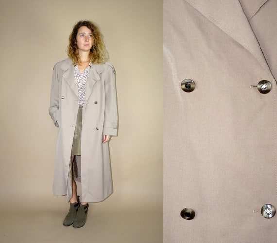 80's vintage women's beige belted maxi wool trench