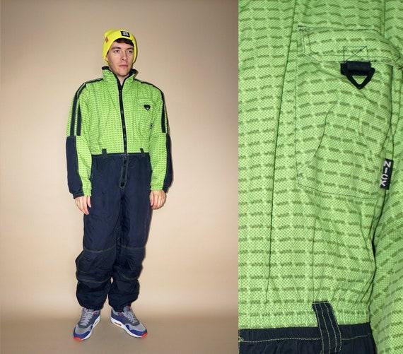 80's vintage green/black one piece winter ski suit