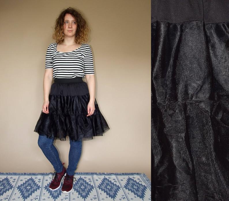 90/'s vintage women/'s black transparent tulle high waisted skirt