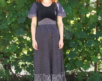 80's vintage women's black spotted maxi dress