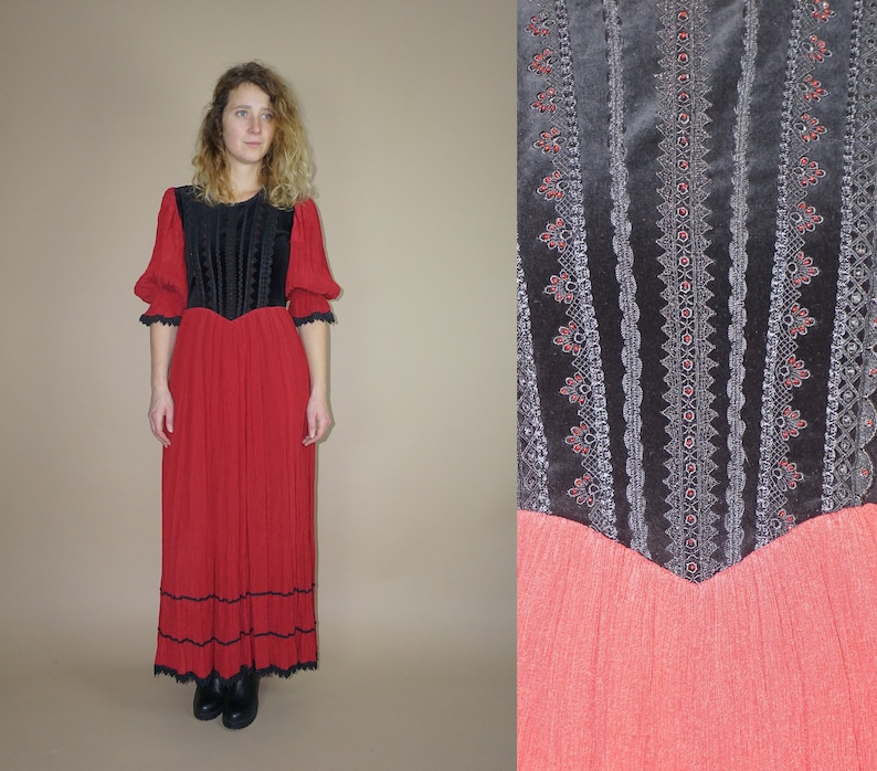 952577d38 Vintage medieval traditional Transylvanian folk red-black maxi | Etsy