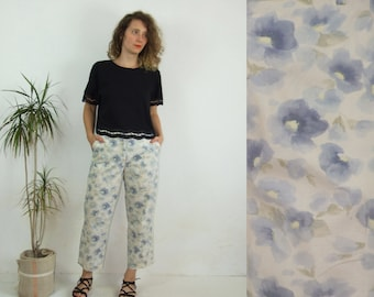80's vintage women's white-blue flower patterned gigh waisted pants