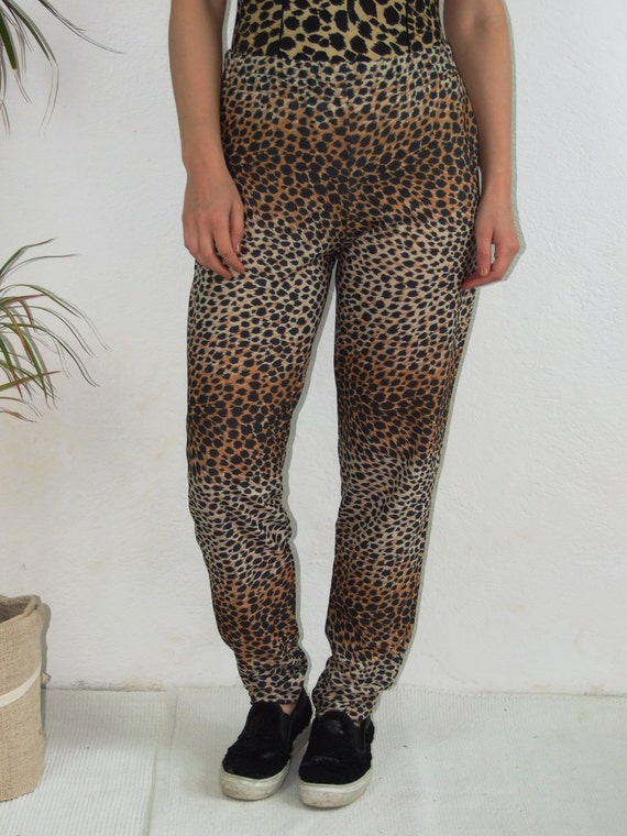 90's vintage women's leopard printed high waisted… - image 3