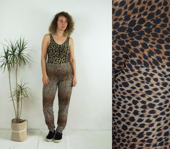 90's vintage women's leopard printed high waisted… - image 1
