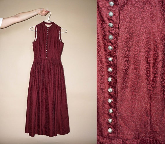 40's vintage women's claret jacquard midi dress