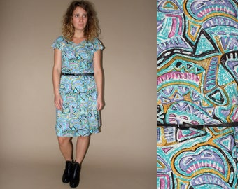 70's vintage women's turquoise colorful abstract patterned dress