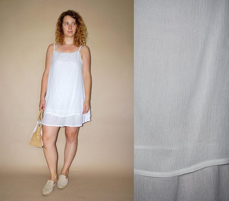 90/'s vintage women/'s white minimal chic mini romantic dress