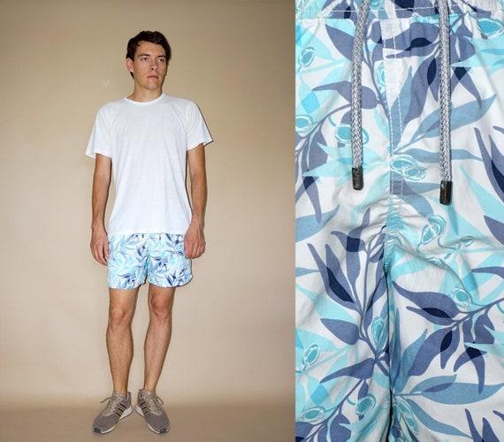 90's vintage men's blue leaf printed shorts pants - image 1