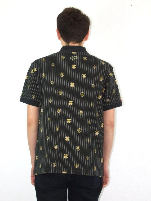Noir vente 90 ' s vintage homme homme vintage rayé T-shirt avec motifs dorés dfbae5