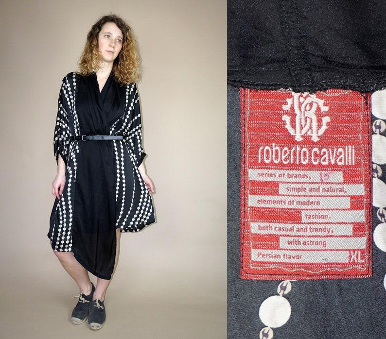 c43a91de Roberto Cavalli black pearl printed kimono wrap dress | Etsy