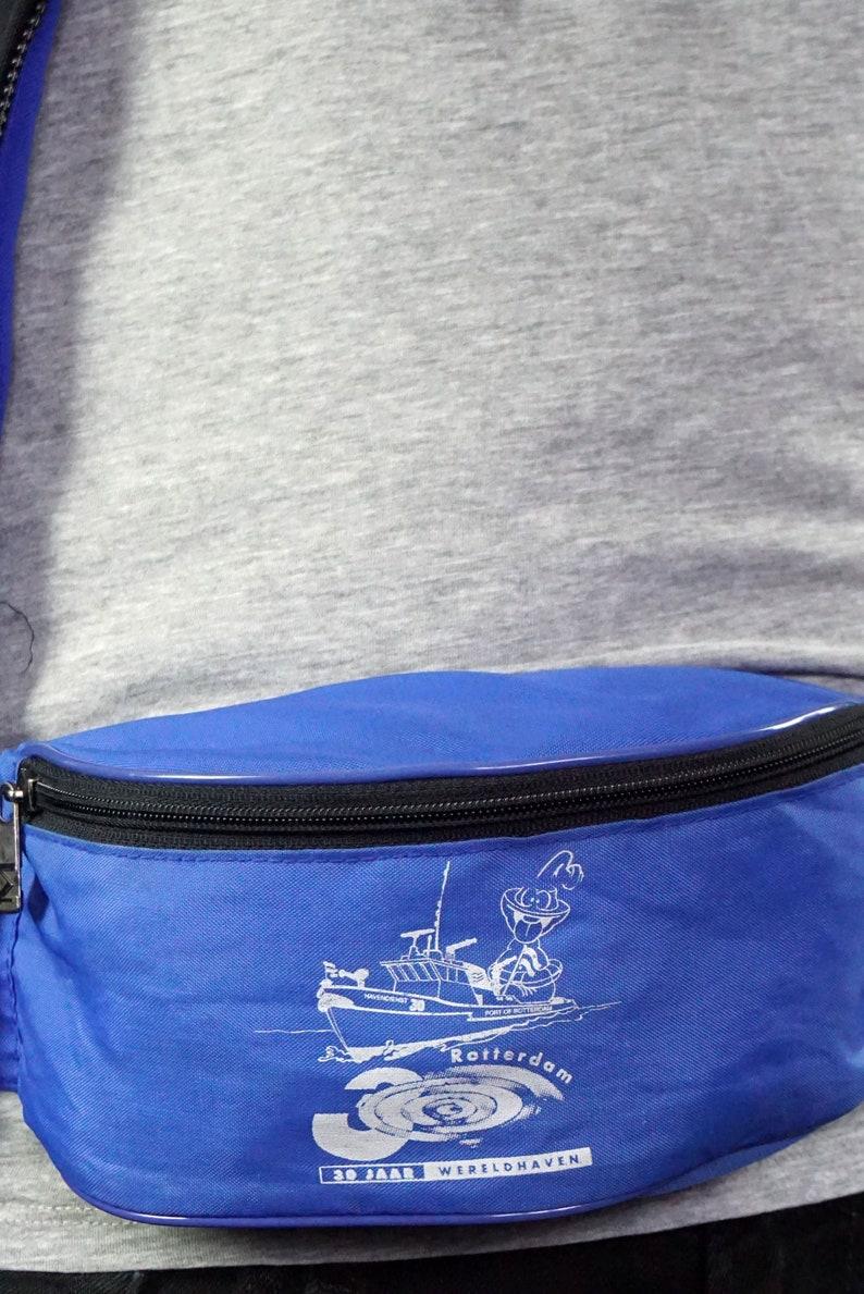 80/'s vintage blue nylon printed fanny pack bumbag
