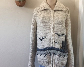3c445a9f8f8503 Vintage 70s Chunky Knit Wool Edie Bauer Maritime Zippered Cowichan