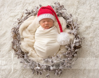 Newborn Santa Hat - Red and White Infant Hat - Christmas Photo Prop Hat ff82ad36bab9