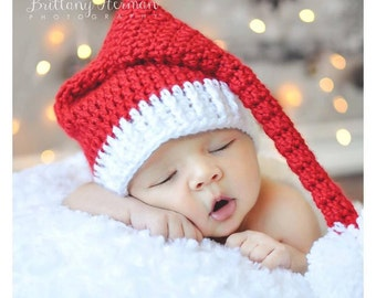 413ee7c716fba Newborn Santa Hat - Red and White Infant Hat - Christmas Photo Prop Hat - C