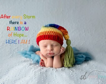 ac259e7000c Rainbow Baby Hat - Rainbow Hat- Rainbow Stocking Hat - Newborn Hat -  Newborn Hat Boy or Girl - Rainbow Baby Photo Prop