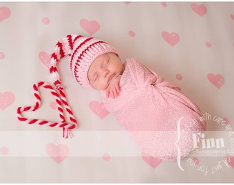 Valentines Baby hat - Long Tail Hat - Newborn Valentine s Hat - Red White  Pink Striped Hat - Valentines Photo Prop Hat - Newborn Elf Hat d9d5c605f8c1