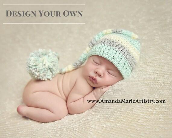 Newborn Elf Hat with Pom Pom Boy Elf Hat Long Tailed Baby  638616ed7620
