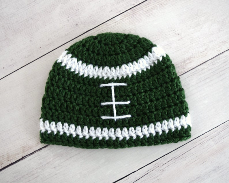 8a053ff1599 Infant Boys Green and White Crochet Football Beanie Hat