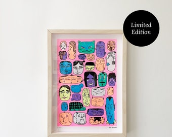 Faces Print A4 Pink | Screen Printed, Limited Edition