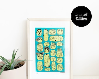 Faces Print A4 Teal | Screen Printed, Limited Edition