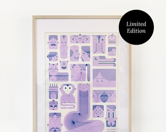 Faces Print 64x48cm | Screen Printed, Limited Edition
