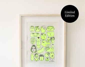 Faces Print 30x40cm | Screen Printed, Limited Edition