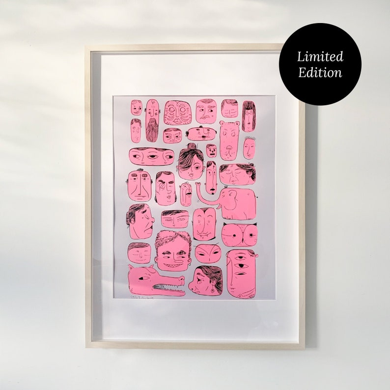 Faces Poster  Screen Printed Limited Edition image 0