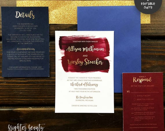 Maroon, Navy, & Gold Watercolor Wedding Invitation Suite | INSTANT DOWNLOAD | Editable PDF| Do It Yourself | Printable