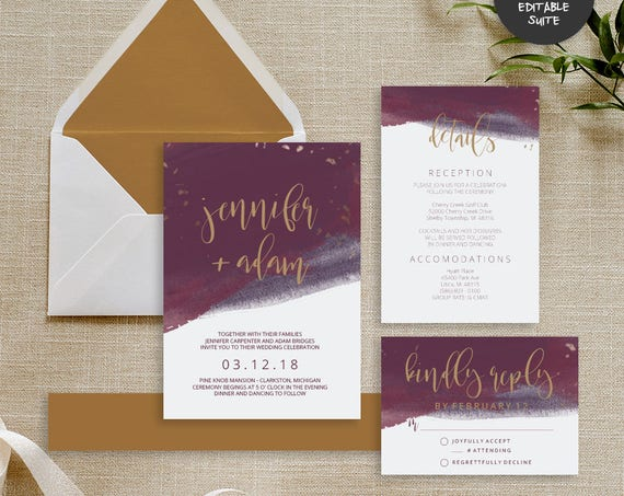 Purple & Gold Wedding Invitation Suite | INSTANT DOWNLOAD | Editable PDF| Do It Yourself | Printable