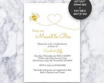 Meant to Bee Bridal Shower Invitation INSTANT DOWNLOAD | Editable PDF| Do It Yourself | Printable