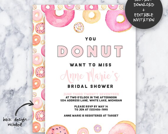 Donut Party Invitation | INSTANT DOWNLOAD | Editable PDF| Do It Yourself | Printable