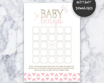 Tickled Pink Baby Shower Baby Bingo Game | Instant Download | DIY | Printable