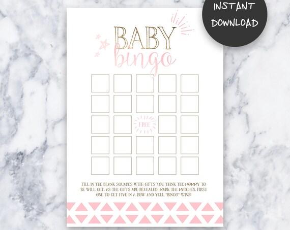 Tickled Pink Baby Shower Baby Bingo Game | Instant Download | DIY | Printable