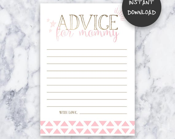 Tickled Pink Baby Shower Advice for Mommy Game | Instant Download | DIY | Printable