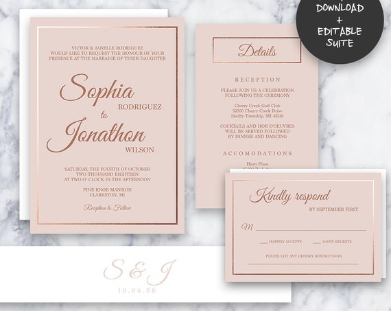 Formal Rose Gold Wedding Invitation Suite | INSTANT DOWNLOAD | Editable PDF| Do It Yourself | Printable