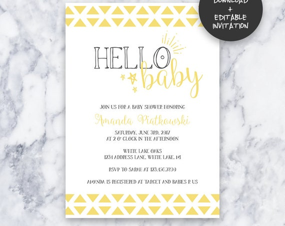 Hello Baby Baby Shower Invitation   INSTANT DOWNLOAD   Editable PDF  Do It Yourself   Printable