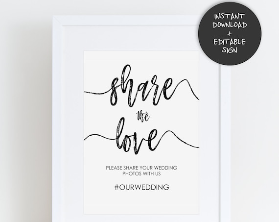 Wedding Hashtag Sign | INSTANT DOWNLOAD | Editable PDF| Do It Yourself | Printable