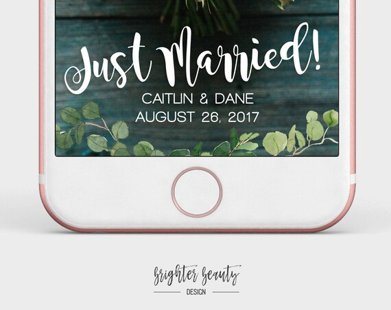 Greenery Wedding Snapchat Filter | Just Married Snapchat Filter | Custom Wedding Geofilter | Elegant Snapchat Filter