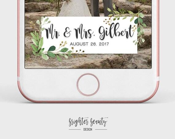 Greenery Wedding Snapchat Filter   Custom Wedding Geofilter   Elegant Snapchat Filter   Just Married Snapchat Filter