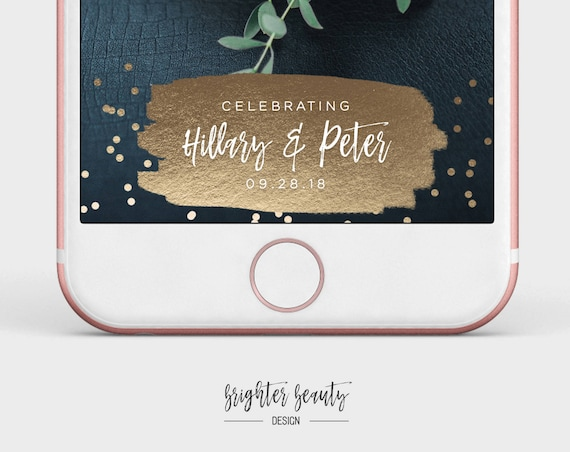 Gold Wedding Snapchat Filter | Custom Wedding Geofilter | Elegant Snapchat Filter | Just Married Snapchat Filter