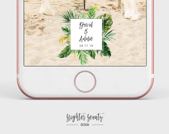 Tropical Beach Wedding Snapchat Filter | Custom Wedding Geofilter | Elegant Snapchat Filter | Just Married Snapchat Filter