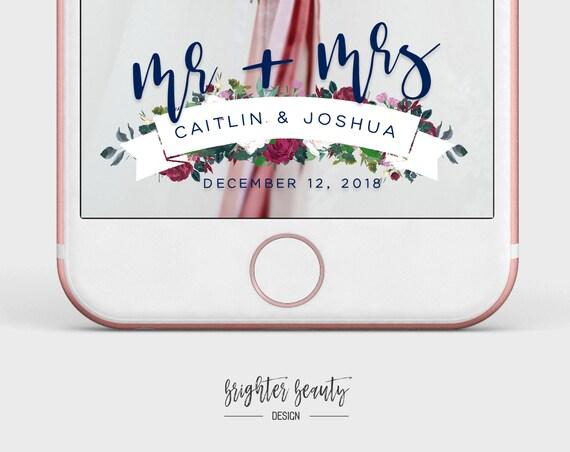 Wedding Snapchat Filter | Mr & Mrs Snapchat Filter | Custom Wedding Geofilter | Elegant Snapchat Filter | Just Married Snapchat Filter