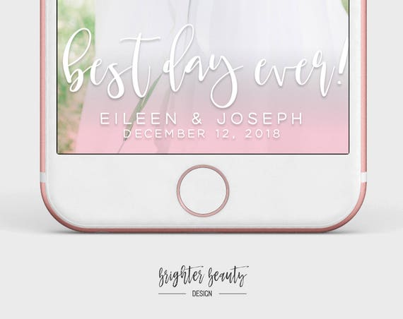 Wedding Snapchat Filter | Best Day Ever | Custom Wedding Geofilter | Elegant Snapchat Filter | Just Married Snapchat Filter