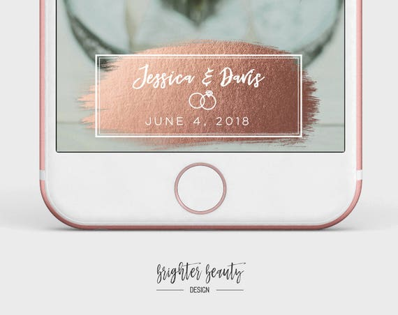 Foil Wedding Snapchat Filter | Custom Wedding Geofilter | Elegant Snapchat Filter | Brush Stroke Snapchat Filter