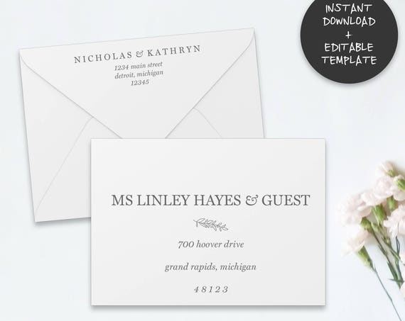 Printable Envelope Template |Editable Envelope Template | A7 | A1 | Wedding Envelope Addressing Template | RSVP Envelope Addressing PDF
